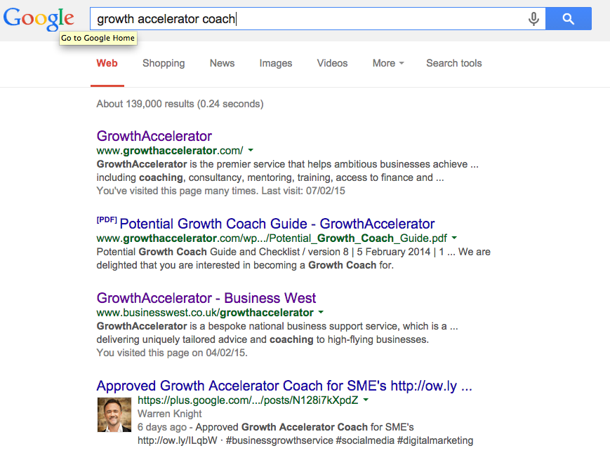 Page 1 of Google Growth Accelerator