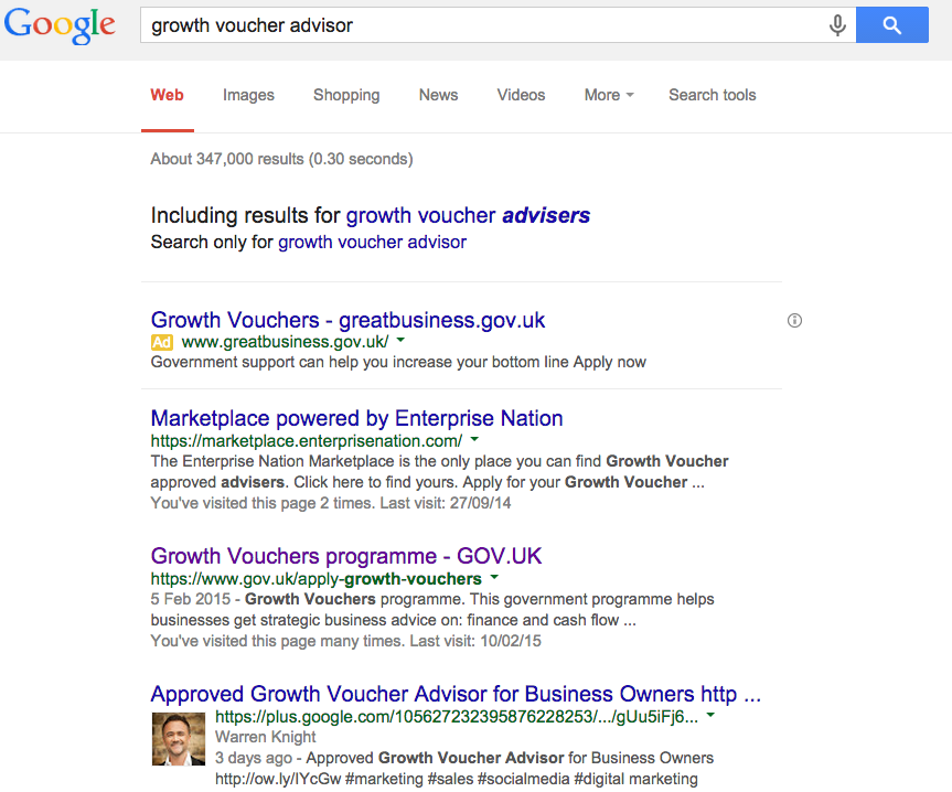 Page 1 of Google Growth Voucher